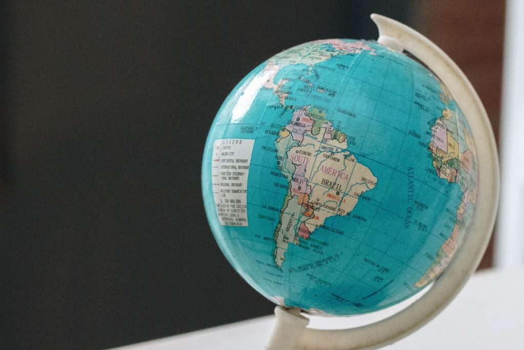 Private tuition in Central and South America: globe on a desk